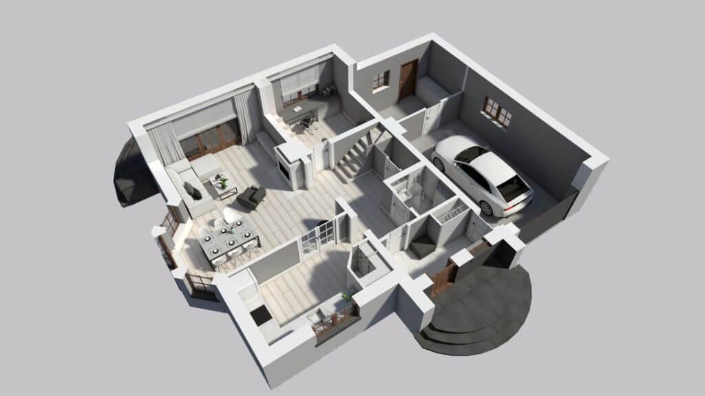 budowa domów - projekt rzut parteru